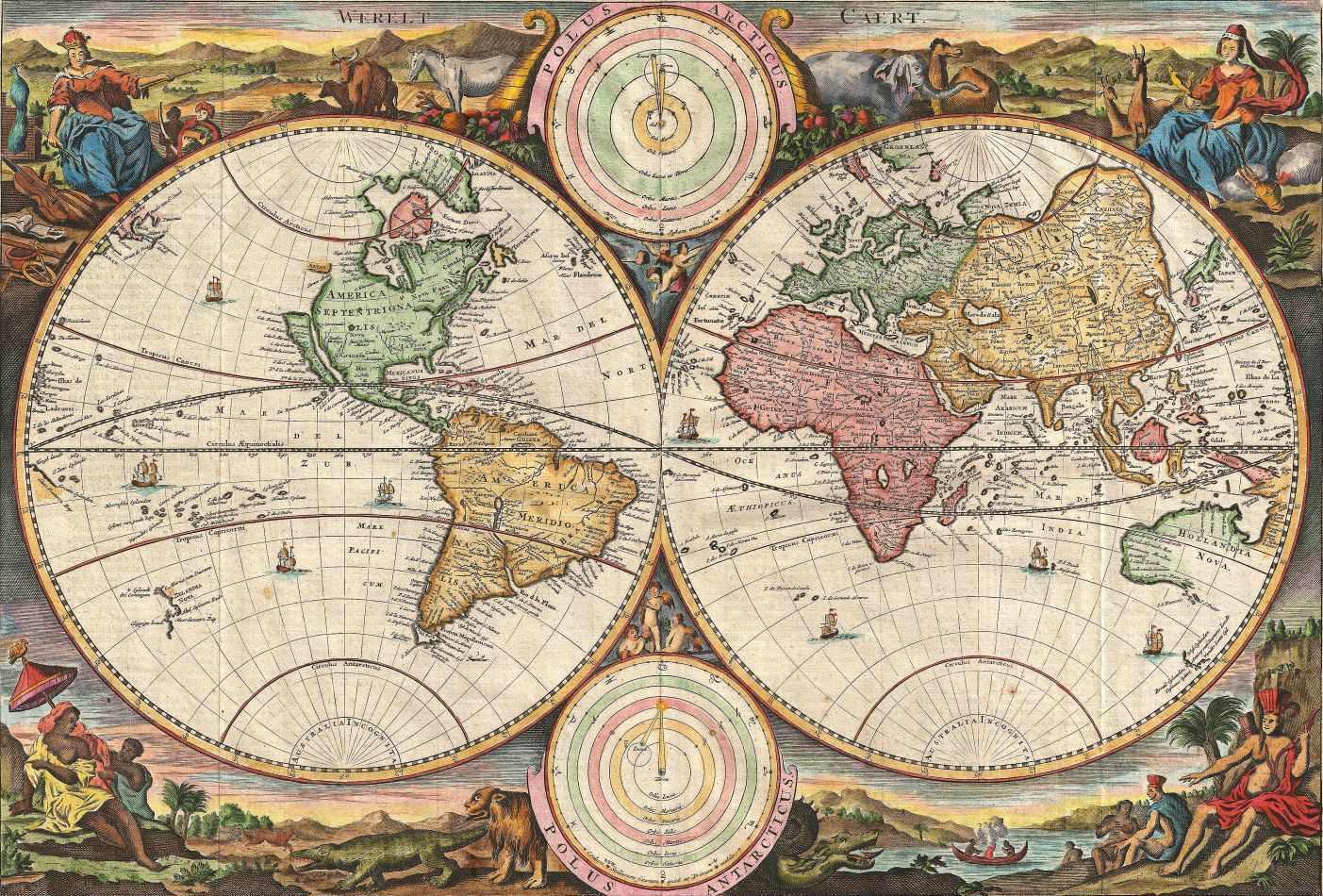 mapa do mundo antigo Mapa Mundi Antigo 1731 | Tela para Quadro | Decoração mapa do mundo antigo