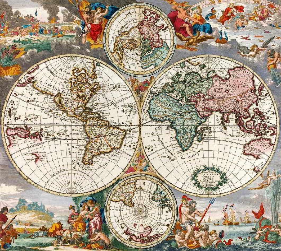 Mapa Mundi Antigo 1730 Tela Para Quadro Decoracao Santhatela