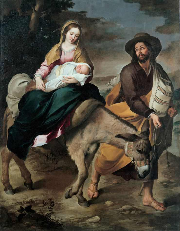 A Fuga para o Egito (1645) de Murillo | Tela para Quadro na Santhatela