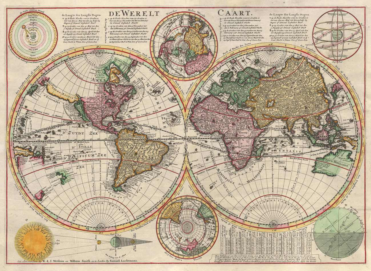 Mapa Mundi Antigo 1645 Tela Para Quadro Decoracao Santhatela