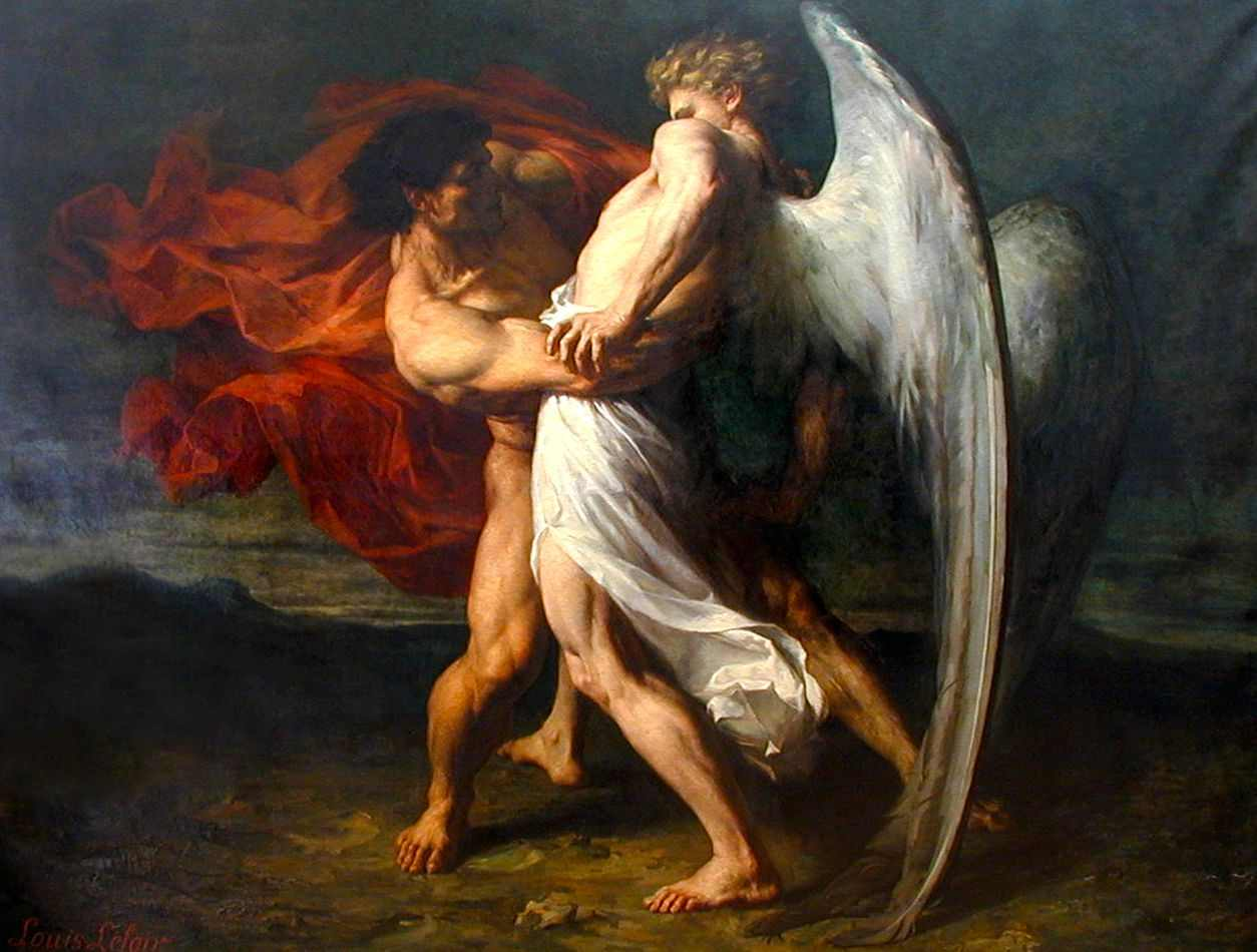 Jacó e o Anjo (1865) de Alexandre-Louis Leloir | Tela para Quadro na  Santhatela